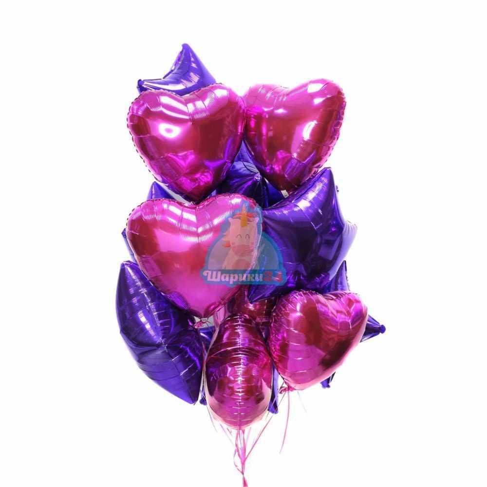 Композиция из фольгированных фиолетовых звезд и сердец фуксия ко дню влюбленных