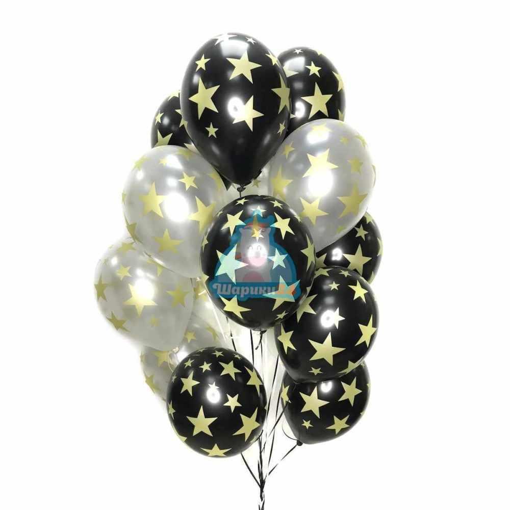 Гелиевые шары черные и серебряные с золотыми звездами