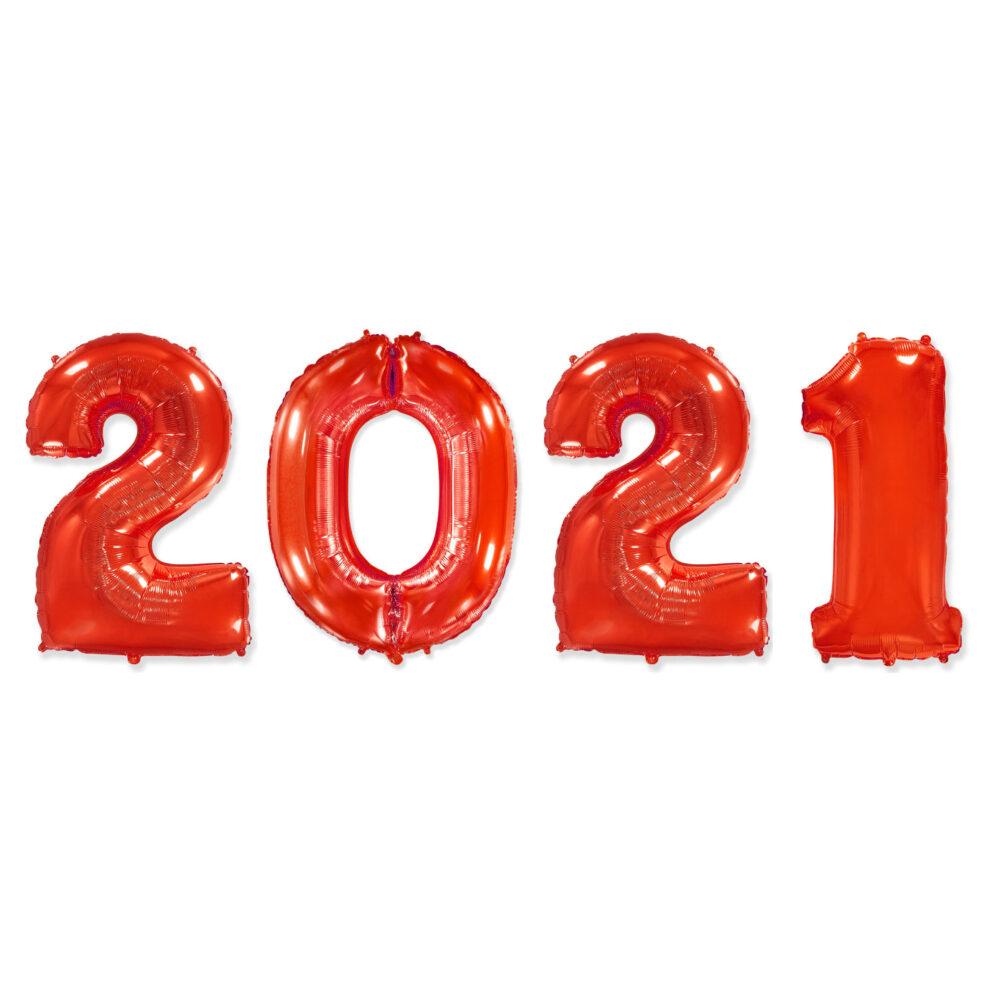 Фольгированные цифры красные 2021