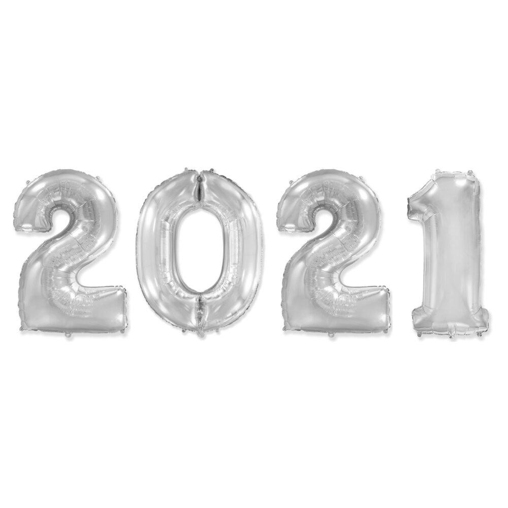 Фольгированные цифры серебряные 2021