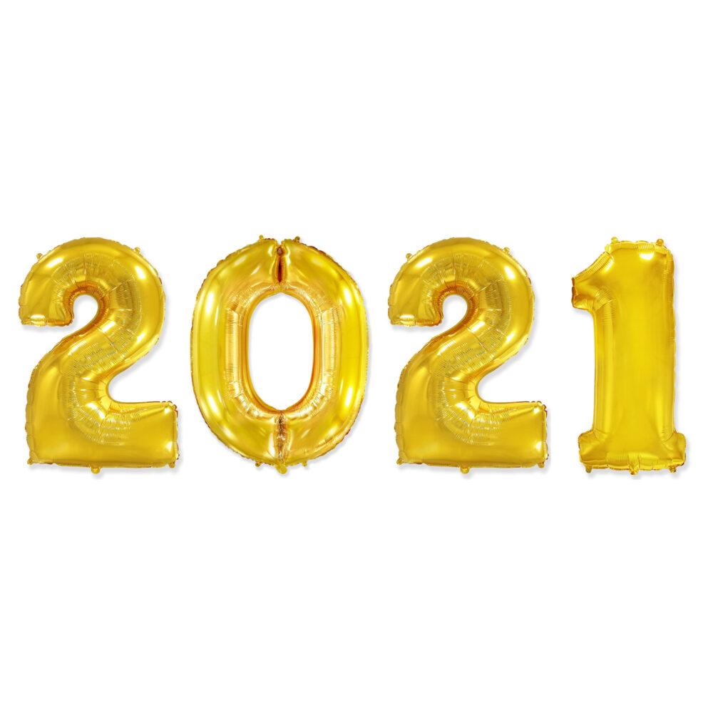 Фольгированные цифры золотые 2021