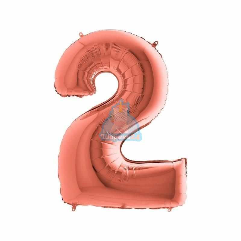 Фольгированная цифра 2 розовое золото