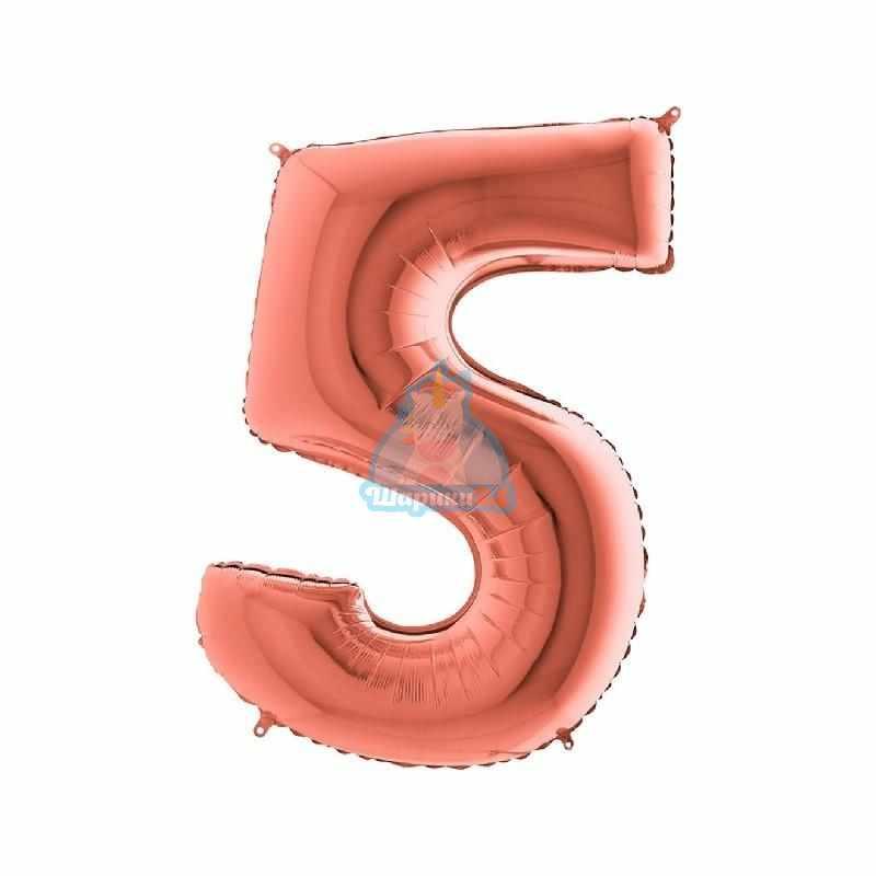 Фольгированная цифра 5 розовое золото
