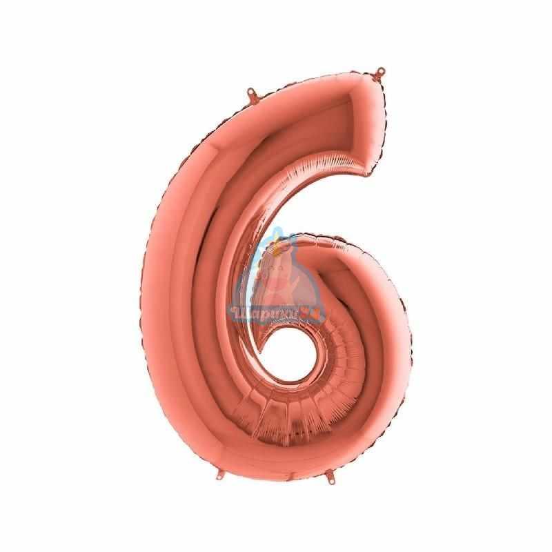 Фольгированная цифра 6 розовое золото