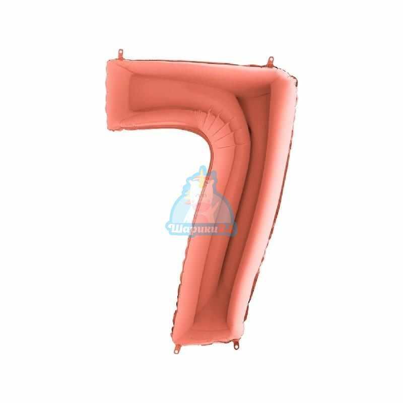 Шар цифра 7 розовое золото