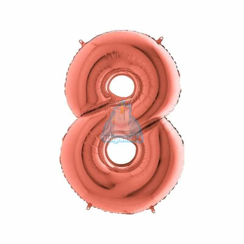 Фольгированная цифра 8 розовое золото