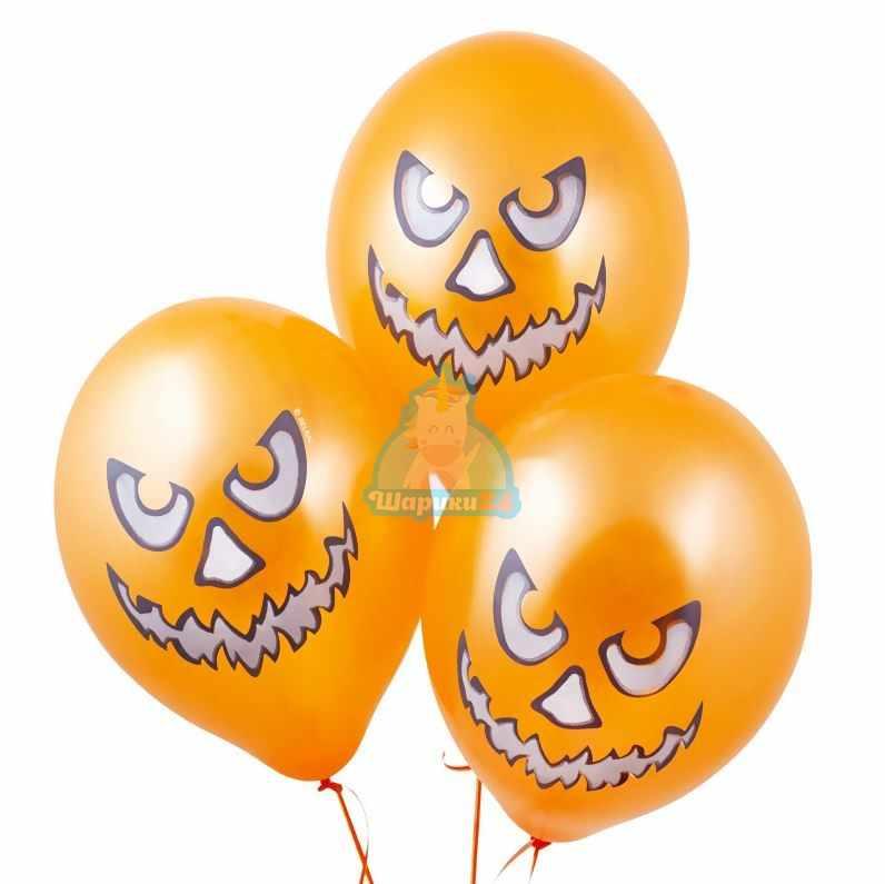Облако оранжевых шаров с тыквами на Хэллоуин