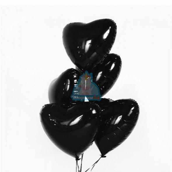 Фольгированные черные сердца