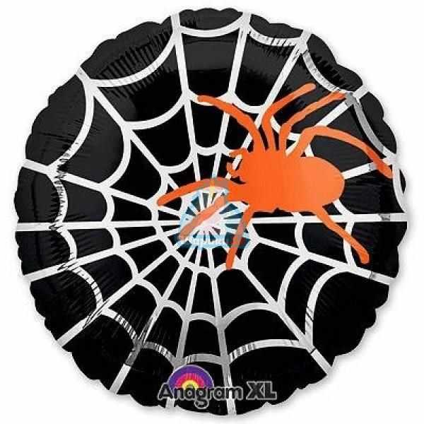 Фольгированный шар Happy Halloween с оранжевым пауком