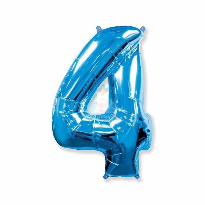 Фольгированная цифра 4 синяя