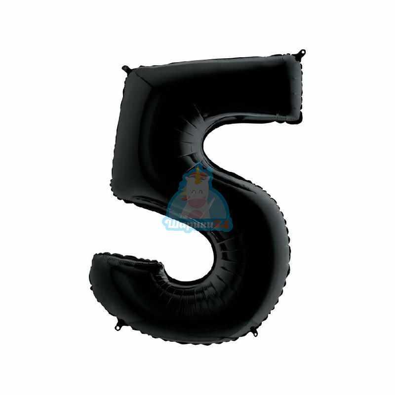 Фольгированная цифра 5 черная