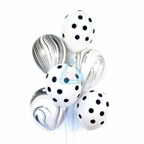 Гелиевые шары серые агаты и белые в точку