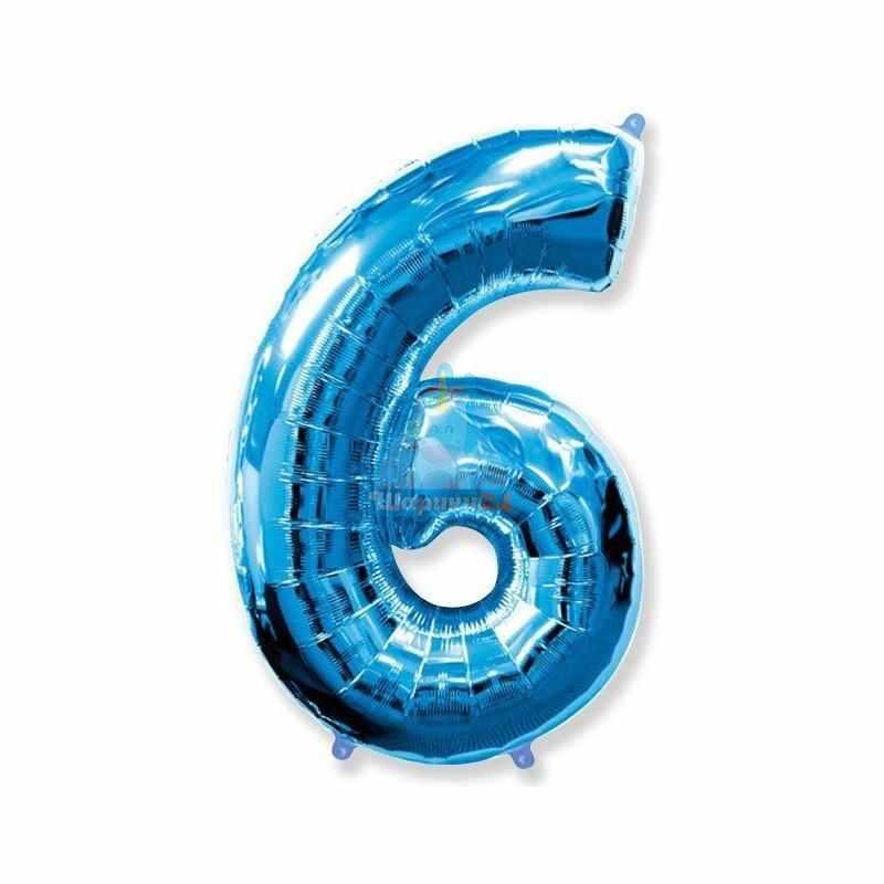 Фольгированная цифра 6 синяя