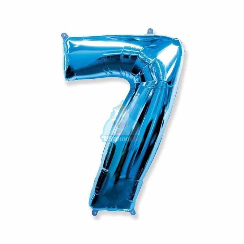Фольгированная цифра 7 синяя
