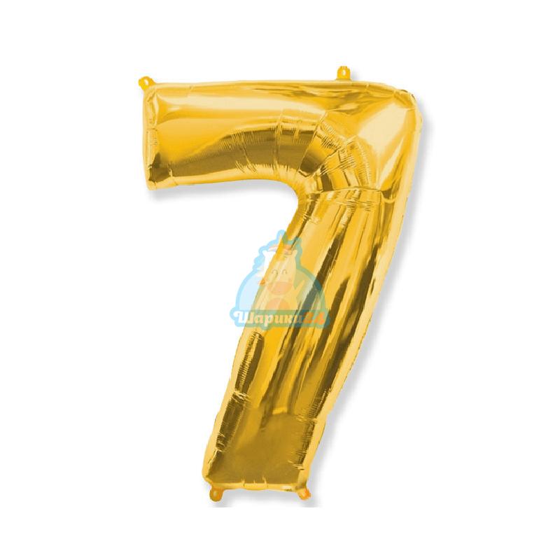 Фольгированная цифра 7 золотая