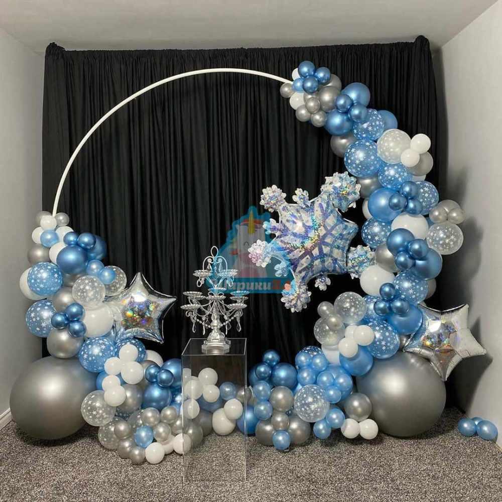 Оформление воздушными шарами фотозона Новогодняя