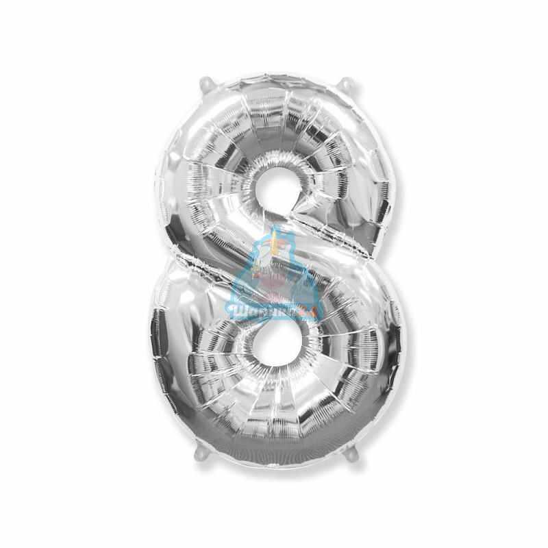 Фольгированная цифра 8 серебряная