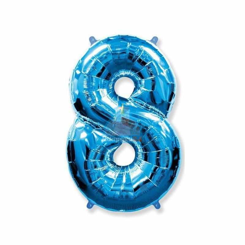 Фольгированная цифра 8 синяя