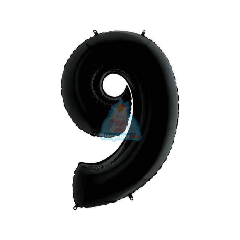 Шар цифра 9 черная