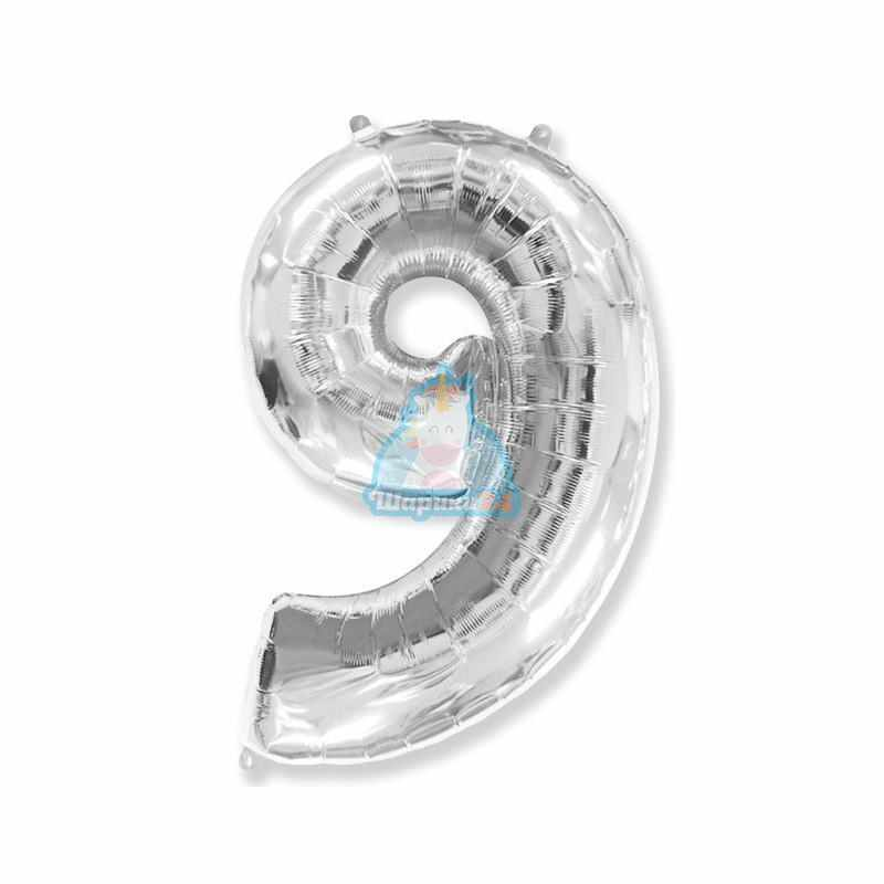Фольгированная цифра 9 серебряная