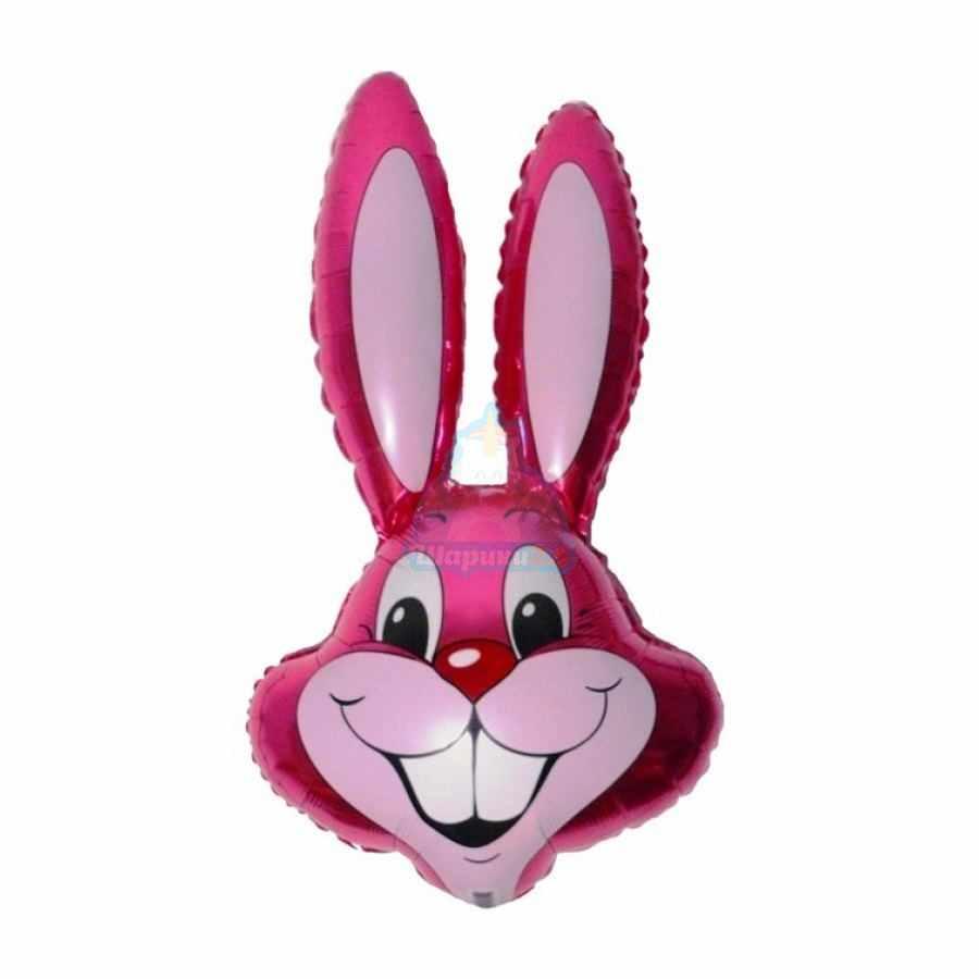 Фольгированная фигура голова зайца розовая