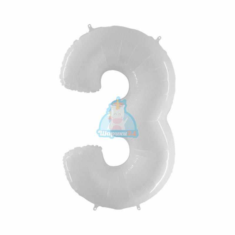 Шар цифра 3 белая
