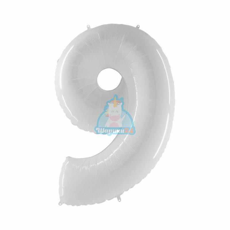 Фольгированная цифра 9 белая