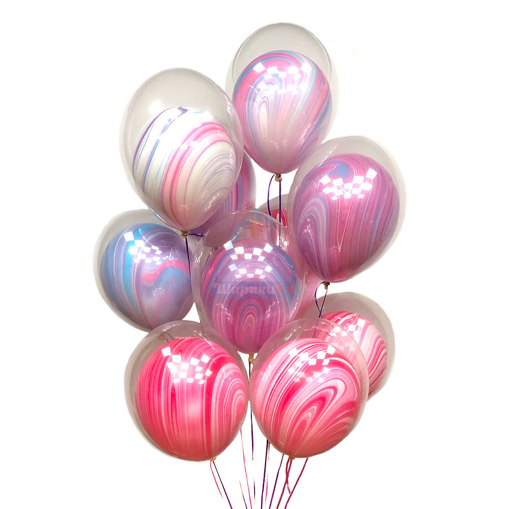 Композиция из воздушных шаров на 8 марта шар в шаре розовые и сиреневые агаты