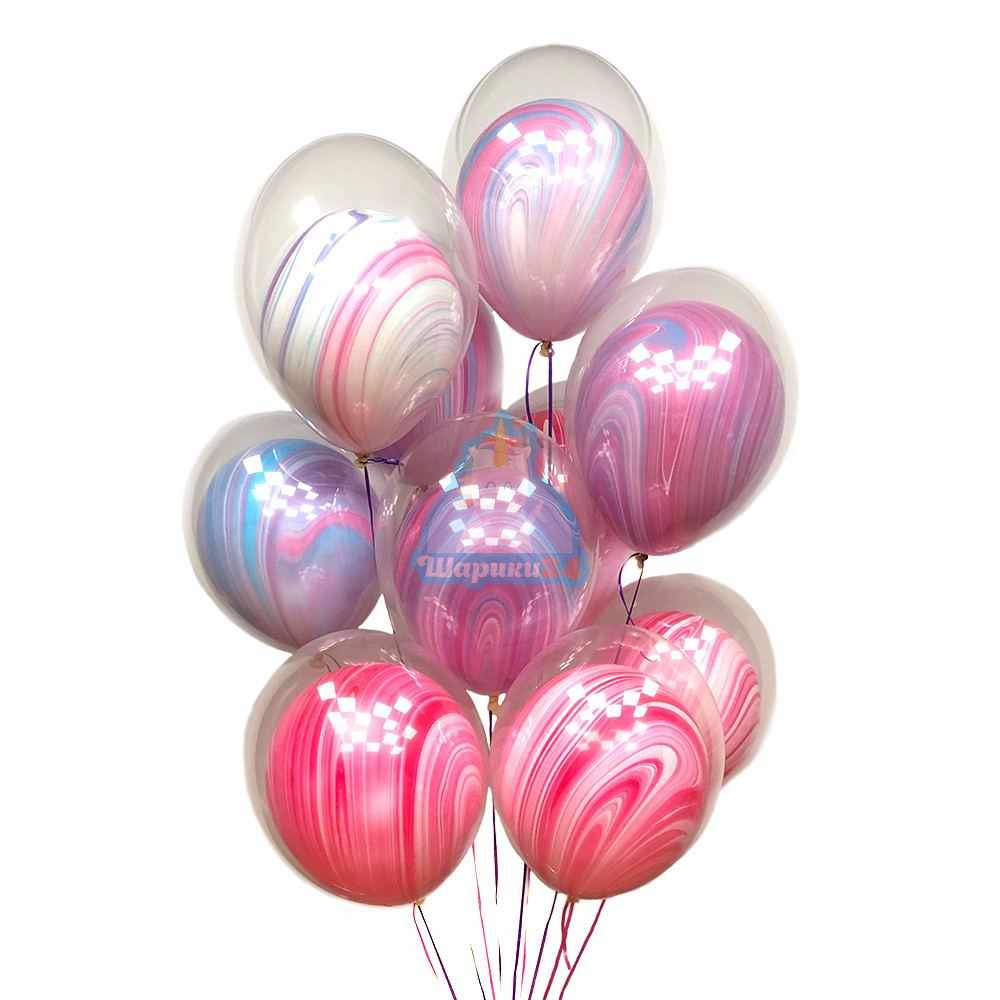 Гелиевые шары розовые и сиреневые агаты шар в шаре