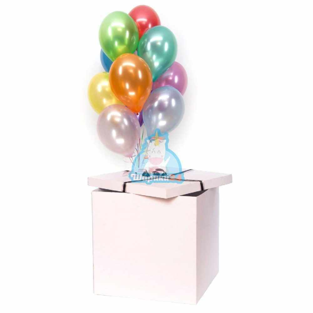 Разноцветные шарики металлик в коробке
