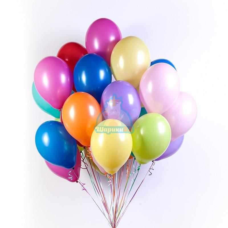Облако разноцветных шариков на 8 марта 10 цветов 50 штук
