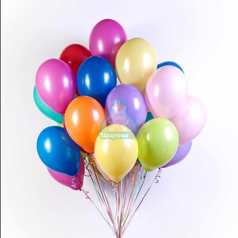 Шары с гелием разноцветные пастель 10 цветов 50 штук