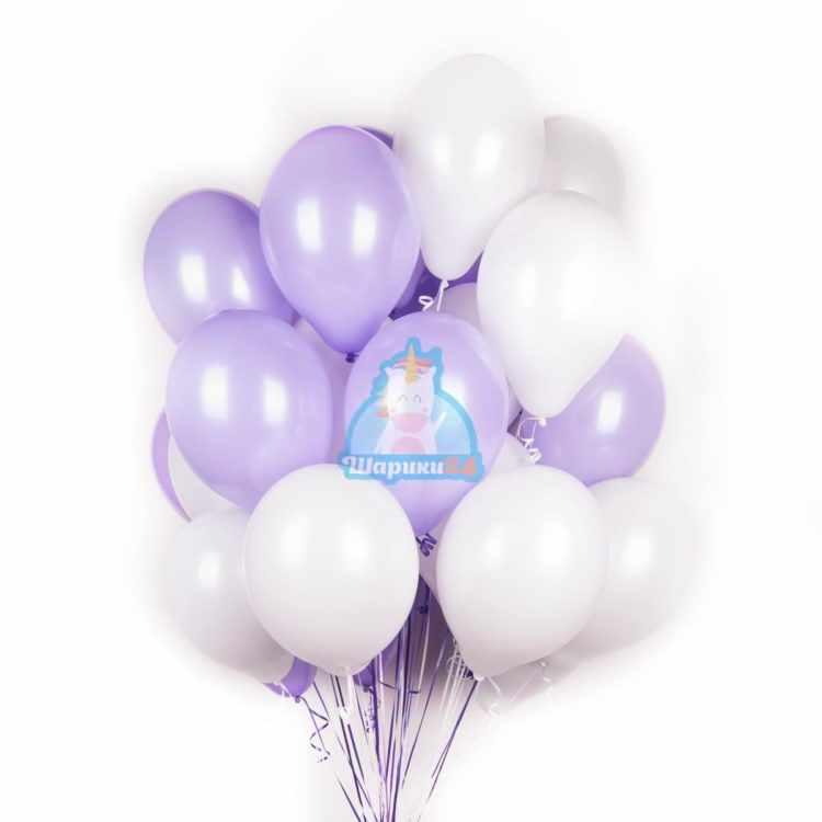 Облако бело-фиолетовых шариков на 8 марта