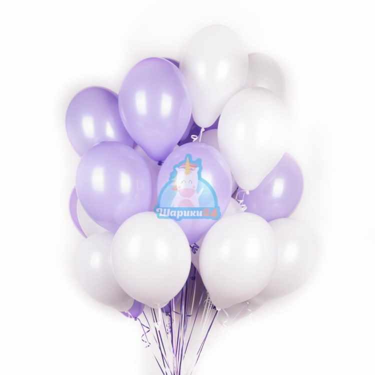 Шары с гелием бело-фиолетовые