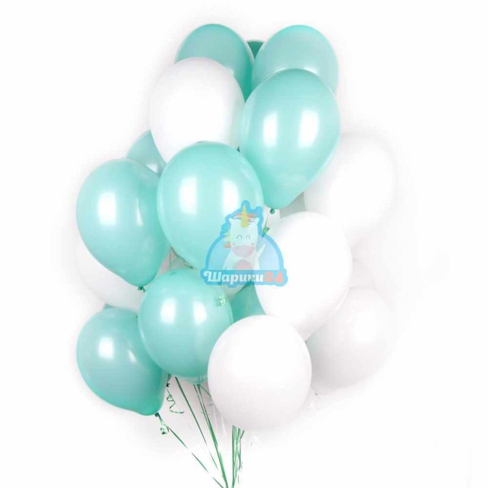 Гелиевые шары бело-мятные