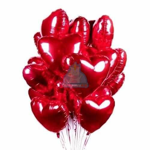 Фольгированные красные сердца большие