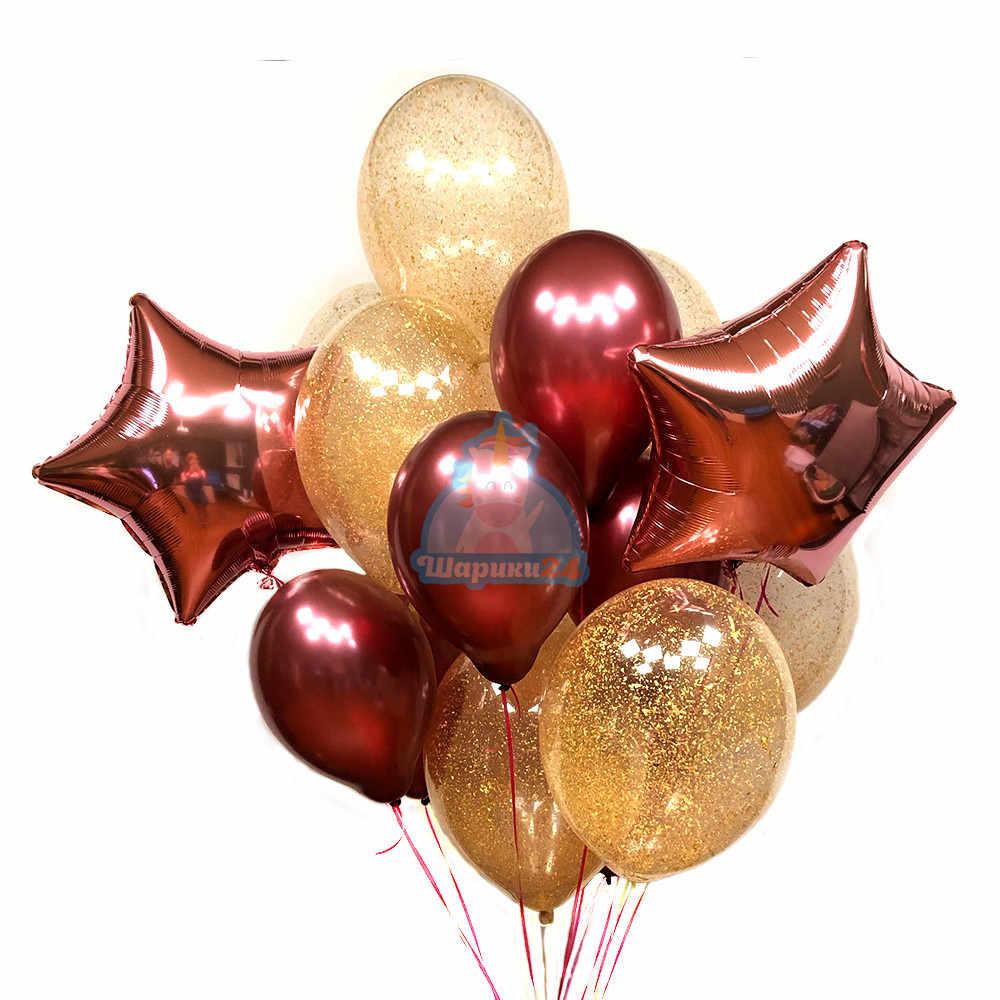 Композиция из бордовых и прозрачных шаров с золотыми блестками и звездами на 8 марта