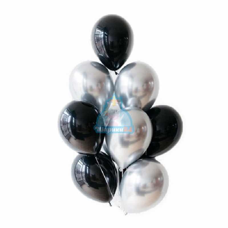 Гелиевые шары хромированные черные и серебряные