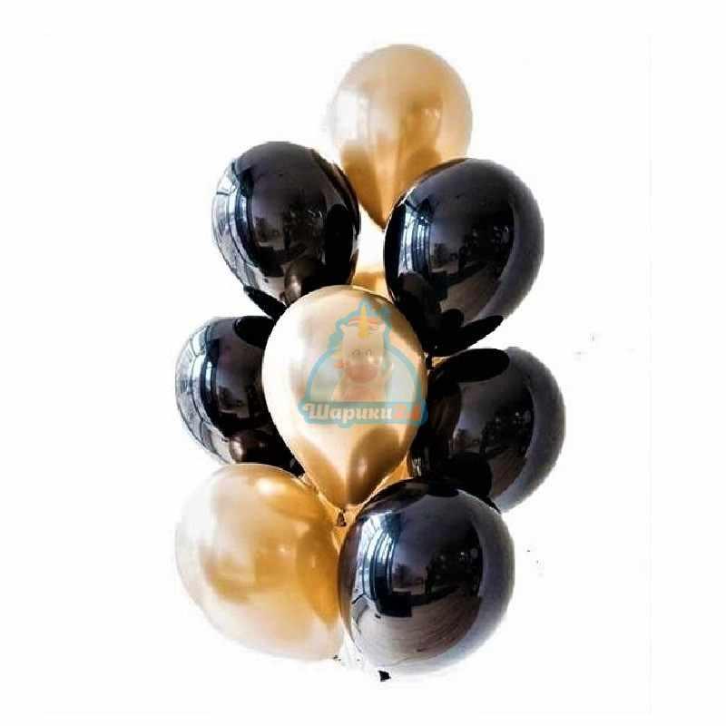 Гелиевые шары хромированные черные и золотые