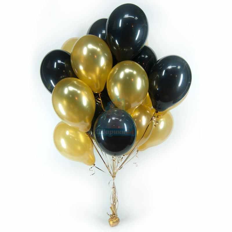 Гелиевые шары черные и золотые