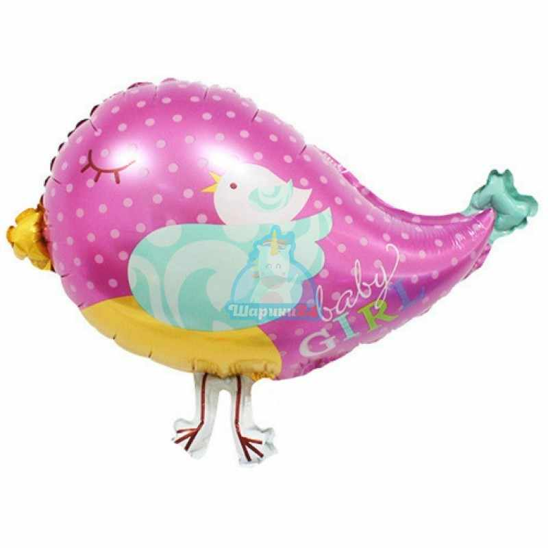 Фольгированная фигура птичка розовая для девочки
