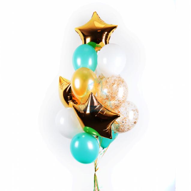 Композиция из бело-мятных, прозрачных шаров с золотыми блестками и звездами на 8 марта