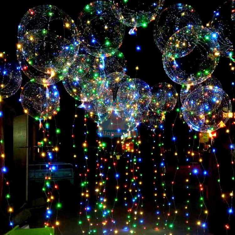 Оформление воздушными шарами светящиеся большие кристальные шары со светодиодной лентой 21 шт.