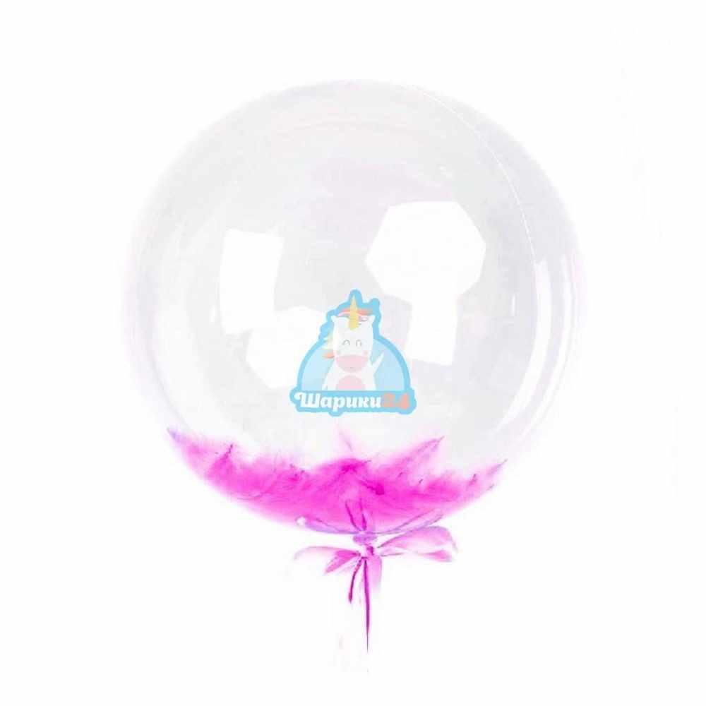 Кристальный шар Bubbles с фуксия перьями на день влюбленных