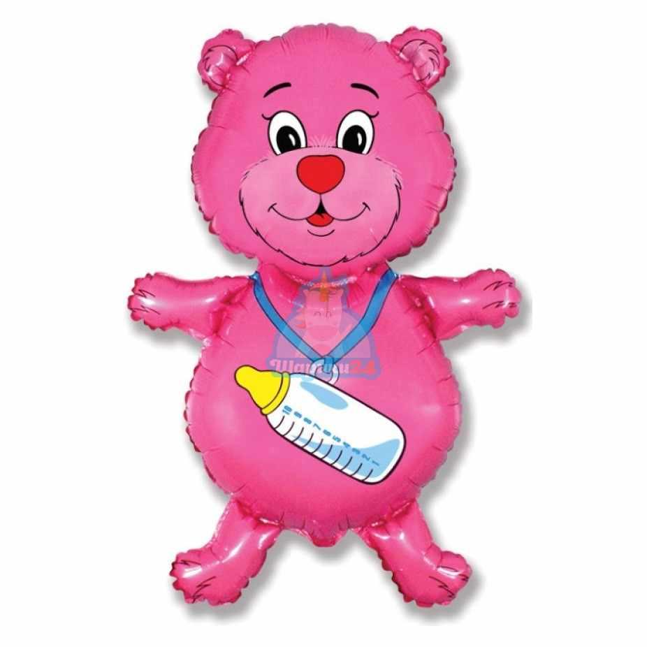 Фольгированная фигура мишка розовый