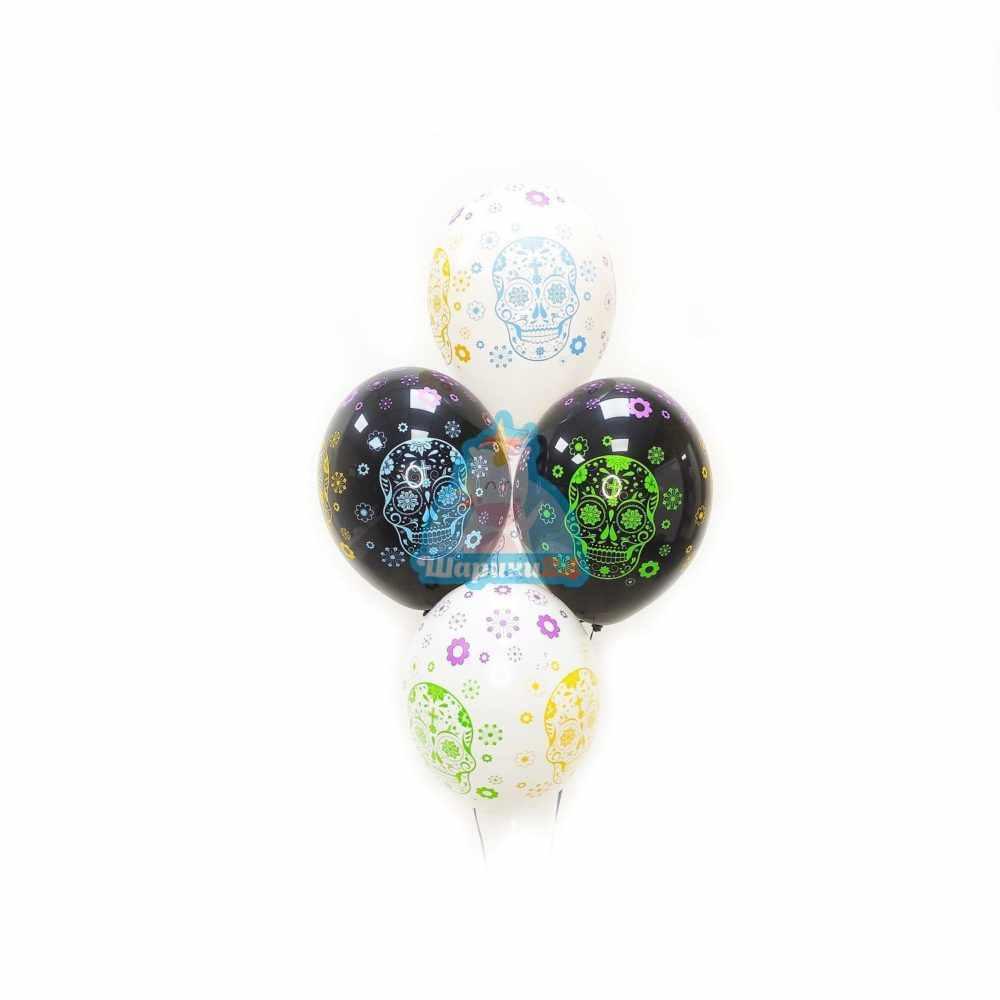 Гелиевые шары черные и белые с разноцветными черепами