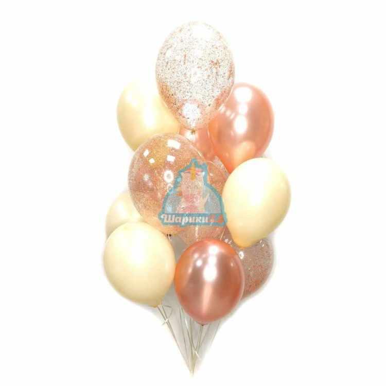 Гелиевые шарики на 8 марта розовое золото