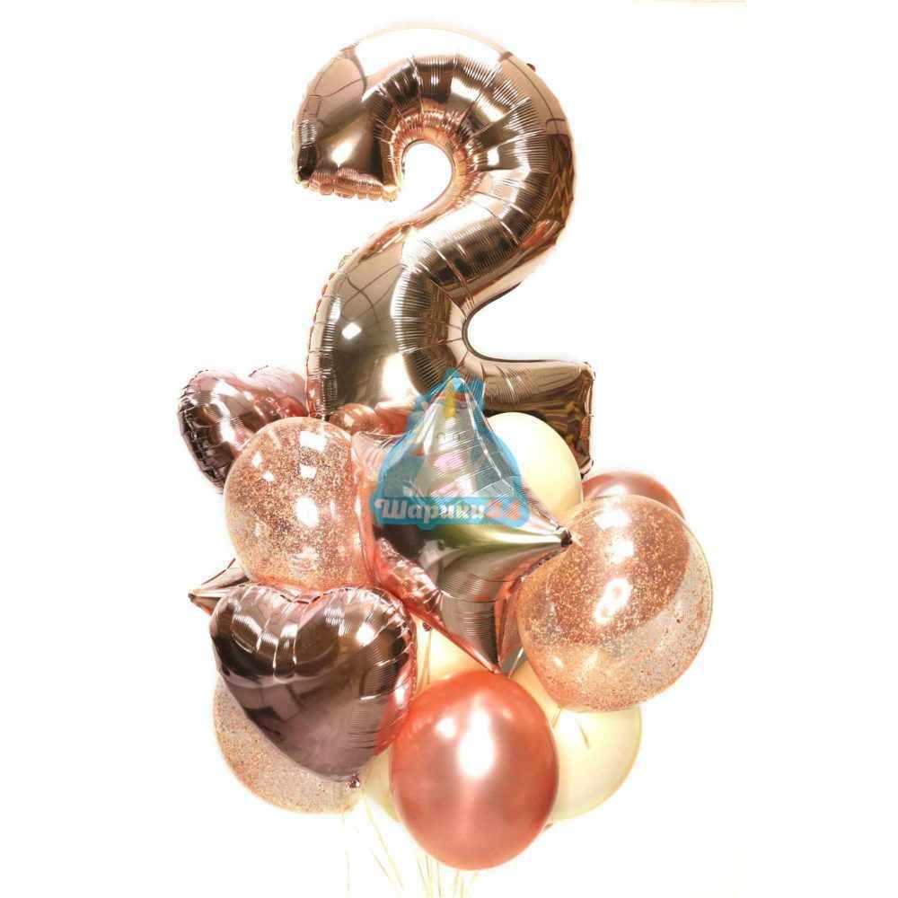 Воздушные шарики на День рождения с цифрой, звездами и сердцами розовое золото