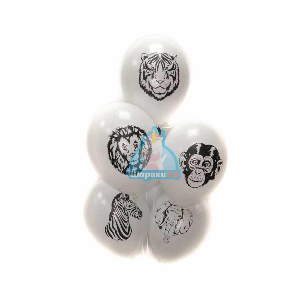 Гелиевые шары белые с животными