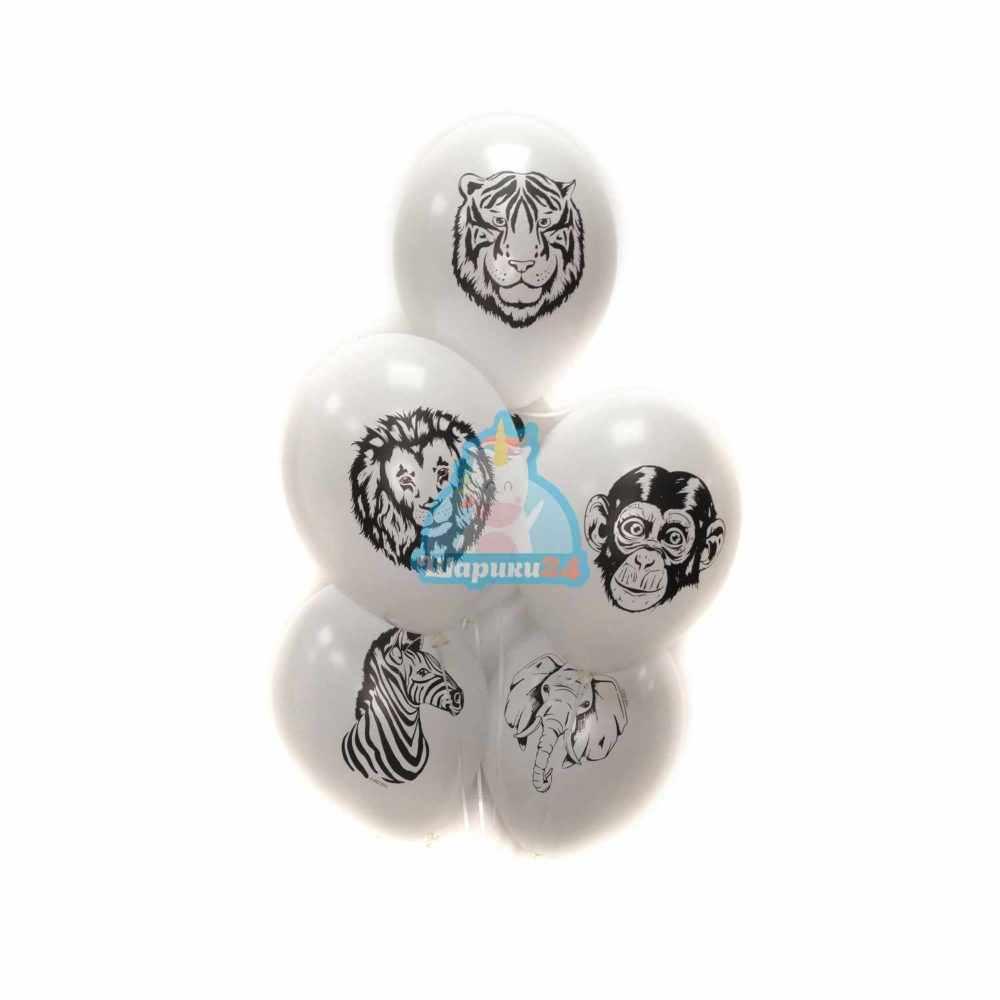 Белые шарики с животными